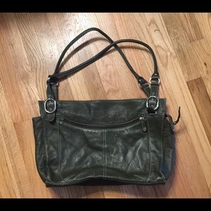 Dark Olive Green Leather Hand Bag